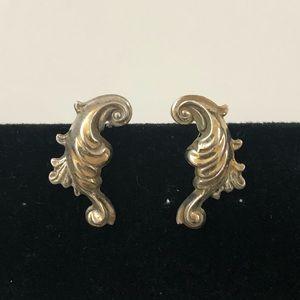 Vtg Swirl Sterling Screw Back Earrings